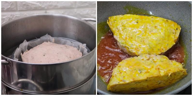 Lót giấy nến vào khuôn hấp, phết thêm một ít dầu ăn vào để chống dính rồi cho hết phần chả cá vào đem đi hấp 30 phút cho chả chín. Sau khi chả chín thì bạn lấy ra, cho vào chảo với một ít dầu màu điều rồi chiên cho vàng mặt rồi đem cắt lát.