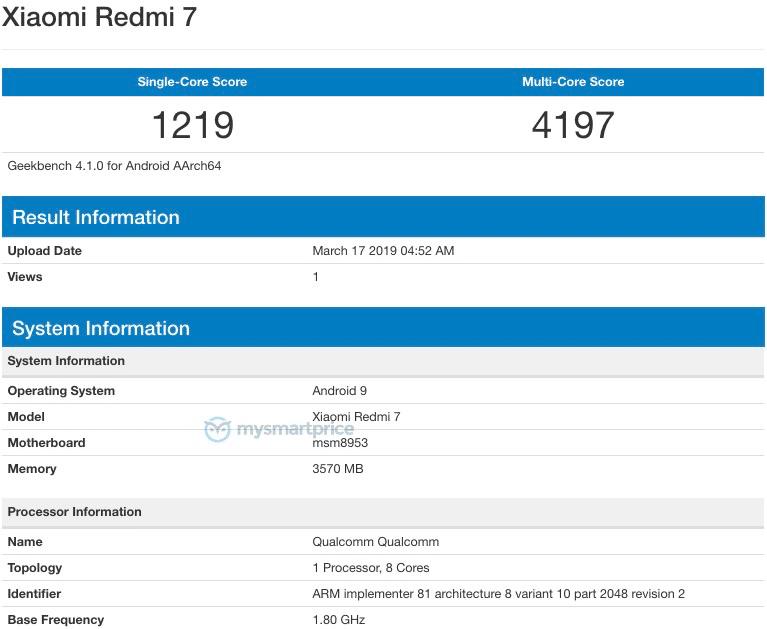 Redmi 7 xuất hiện trên Geekbench trước ngày ra mắt 18/3
