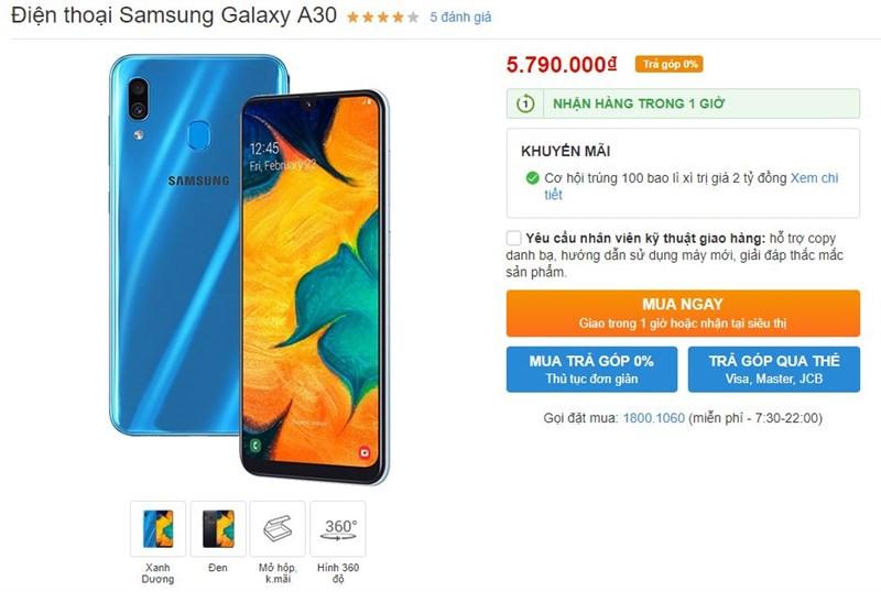 Galaxy A30 lên kệ Thế Giới Di Động: Màn hình 6.4 inch, pin 4.000 mAh, camera kép 16MP