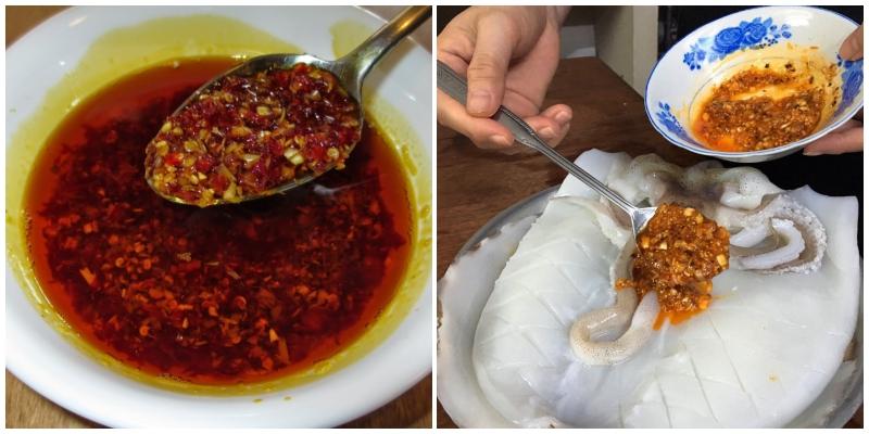 Trộn tất cả nguyên liệu ở trên vào chén sau đó đổ hỗn hợp lên mực ướp trong 30 phút cho ngấm gia vị.