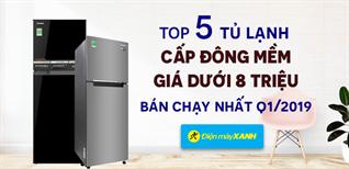 Top 5 tủ lạnh cấp đông mềm dưới 8 triệu bán chạy nhất Điện máy XANH Quý 1/2019