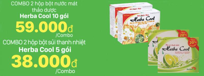 Mua 2 combo bột nước mát thảo dược Herbal Cool giảm 10-15%
