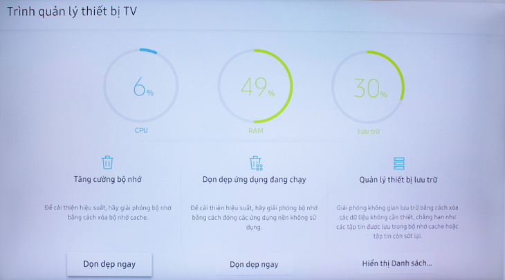 Trình quản lý thiết bị của tivi Samsung