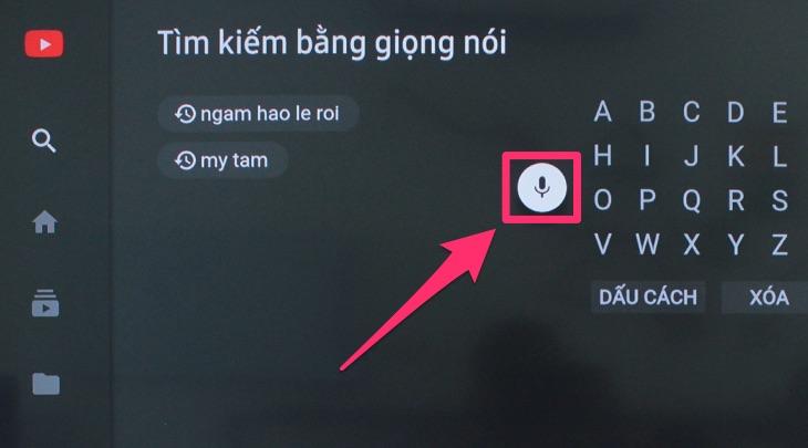 Phần tìm kiếm của ứng dụng Youtube trên tivi