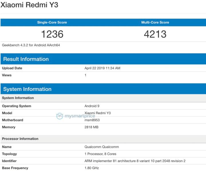 Redmi Y3 dùng chip Snapdragon 625, RAM 3 GB xuất hiện trên Geekbench