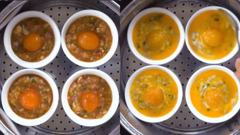 Sau 35 phút, đánh đều lòng đỏ của quả trứng vịt còn lại rồi quét đều lên chén mắm, hấp trong 5 phút và tắt bếp.