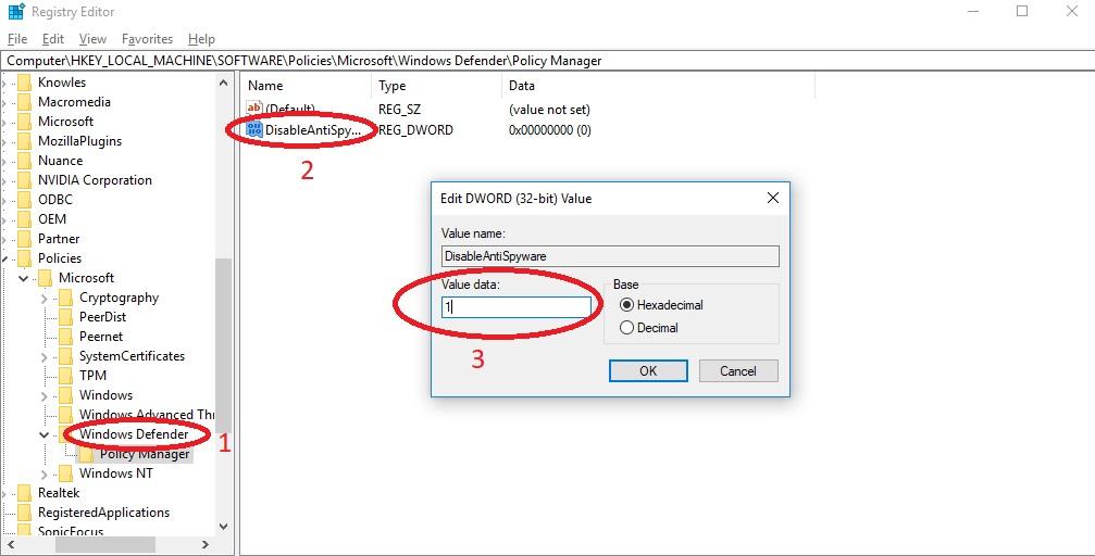 Vô hiệu hóa bằng Registry Editor