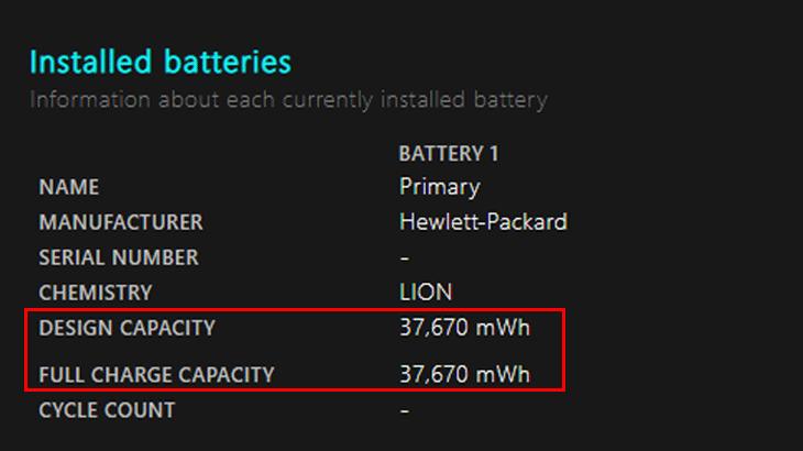 Kiểm tra tình trạng pin trong Battery report