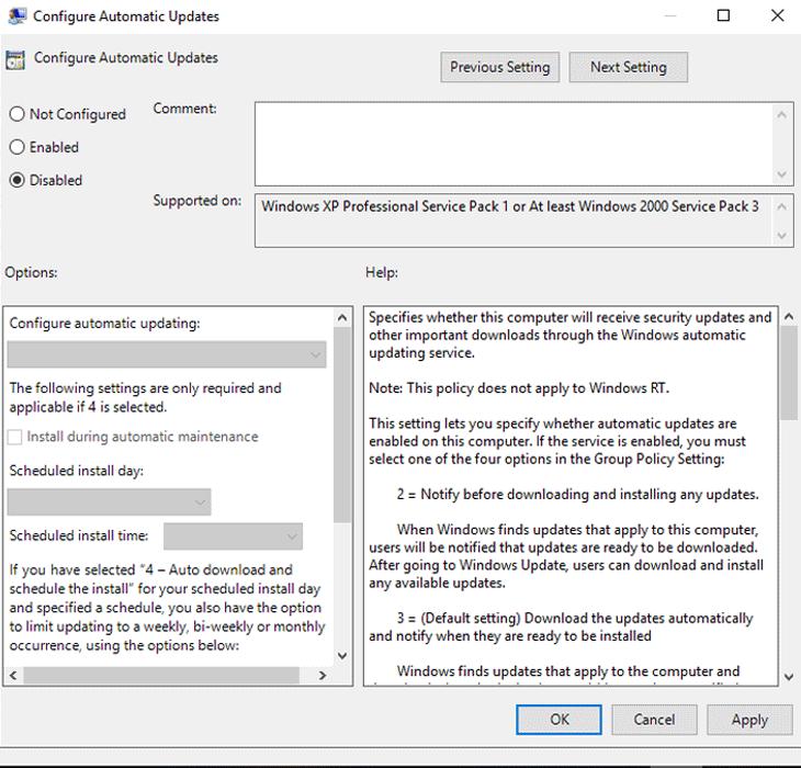 Chọn Disable để tắt chức năng cập nhật tự động