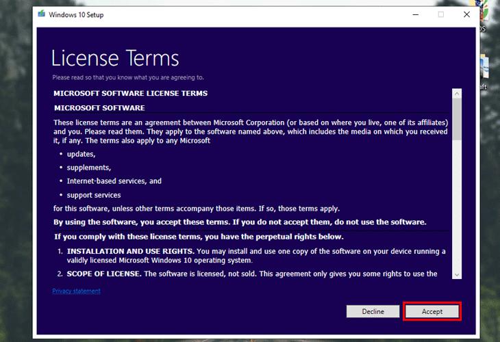 Nhấn vào Accept để xác nhận đã đọc kĩ điều khoản