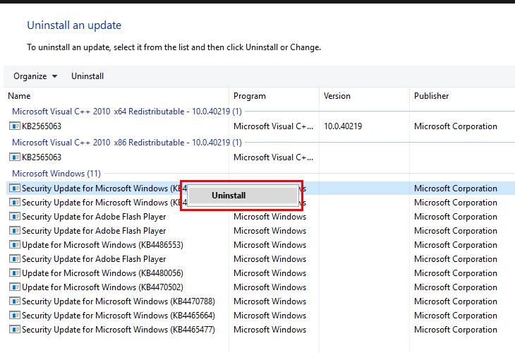 Chọn phiên bản cập nhật gây lỗi và chọn Uninstall