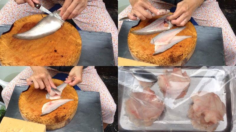 Sau đó, dùng muỗng nạo từ đuôi cá lên, để lấy phần thịt cá dễ dàng hơn.