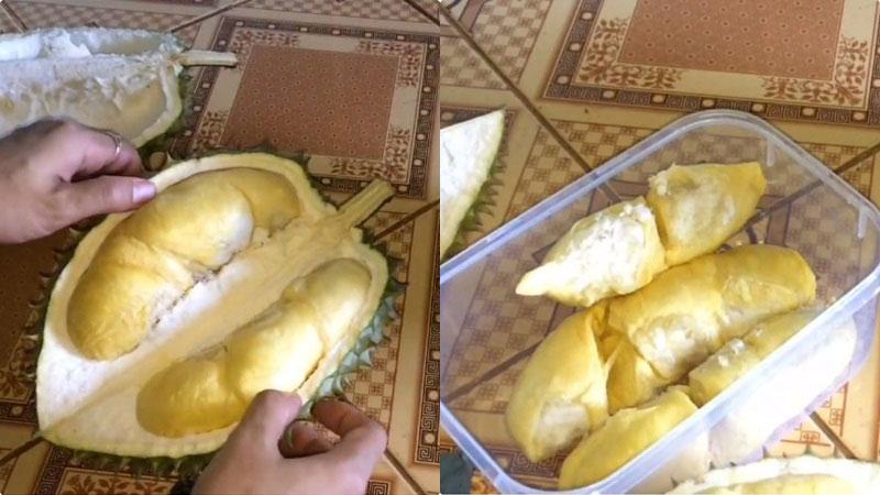 Sầu riêng sau khi mua về, tách bỏ phần vỏ, lấy múi. Tiếp đó dùng 4 múi sầu riêng, đem đi nạo lấy phần cơm, bỏ hạt.