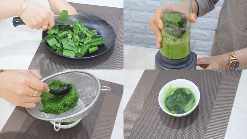 Rửa sạch lá dứa, cắt nhỏ rồi cho vào máy xay sinh tố cùng với 100ml nước lọc, xay nhuyễn, sau đó lọc lấy nước cốt.