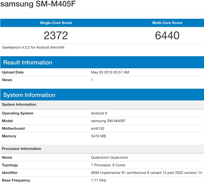 Samsung Galaxy M40 sẽ có màn hình nốt ruồi dùng chip Snapdragon 675 - 263383
