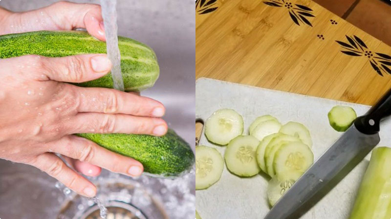 Sử dụng những quả dưa leo còn non, rửa sạch, cắt đi 2 phần đầu, rồi gọt bỏ đi lớp vỏ lên ngoài, sau đó cắt thành từng khúc nhỏ.