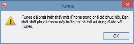 Màn hình thông báo iTunes đã nhận kết nối với iPhone