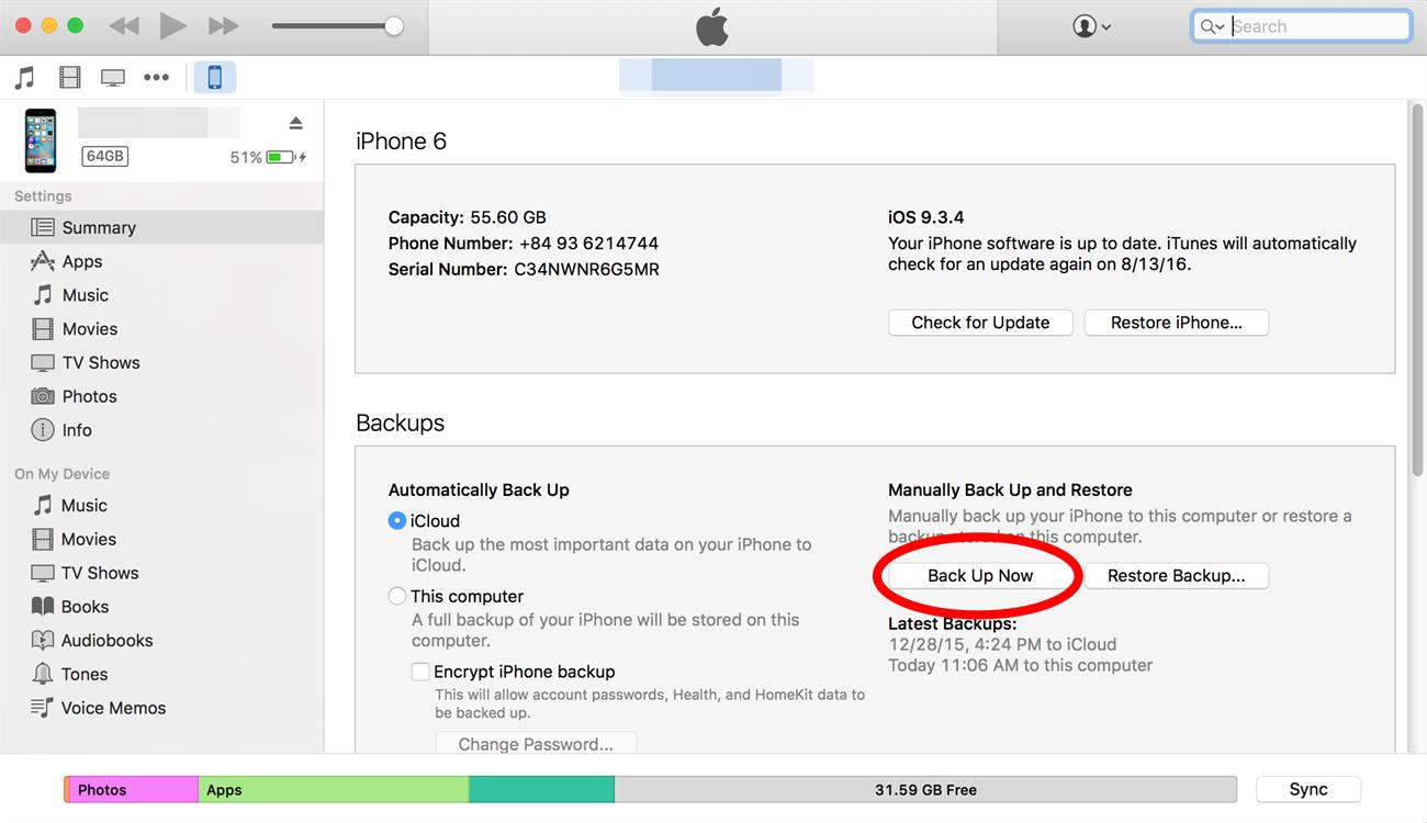 Cách 1: Dùng tiện ích iTunes