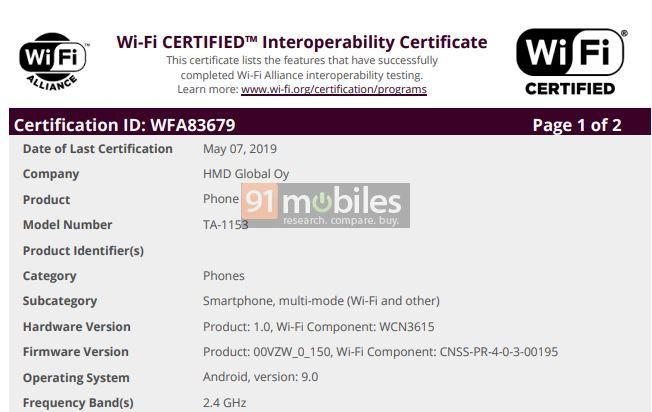 Nokia TA-1153 chạy Android 9 Pie được tổ chức Wi-Fi Alliance chứng nhận