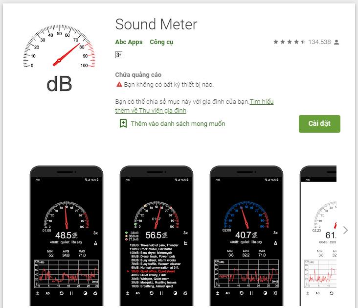 App Sound Meter dùng để đo tiếng ồn trên Google Play