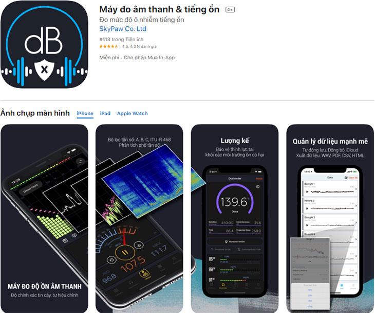 App đo âm thanh & tiếng ồn của Apple