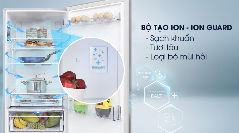 Bộ tạo ion - Tủ lạnh Beko Inverter 323 lít RCNT340I50VZX
