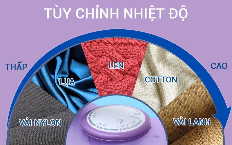 Chỉnh nhiệt độ phù hợp với từng loại vải