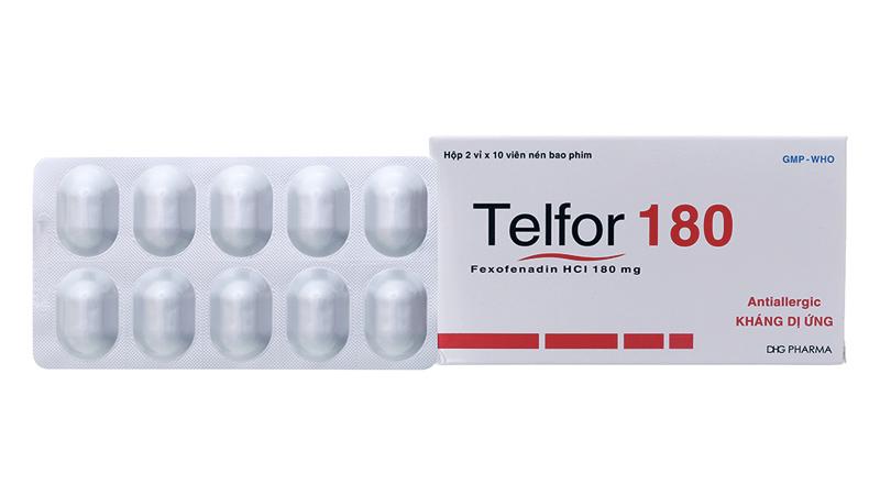 Thuốc chống dị ứng, kháng histamin trị ngứa Telfor 180mg