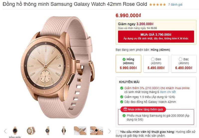 Galaxy Watch 42mm Rose Gold giảm giá cực sốc, lên tới 3.2 triệu đồng - ảnh 2