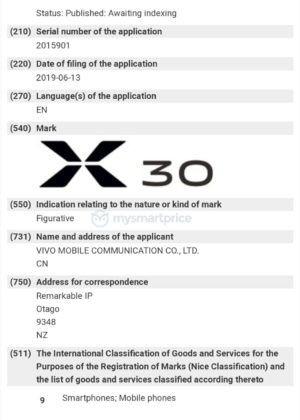 Chứng nhận thương thiệu Vivo X30 từ WIPO