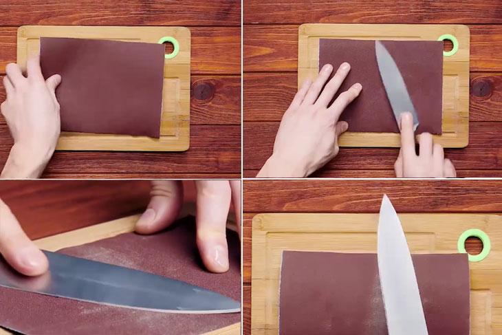Mài dao bằng giấy nhám