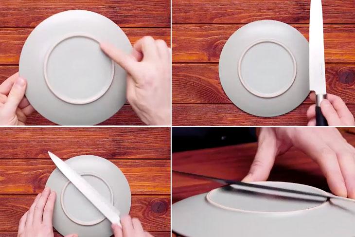 Mài dao bằng đĩa sứ