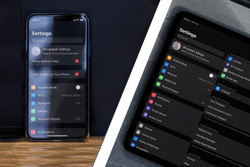 Sự khác biệt giữa Dark Mode trên iPhone và iPad