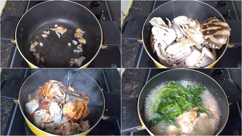 Nấu canh ghẹ với rau muống