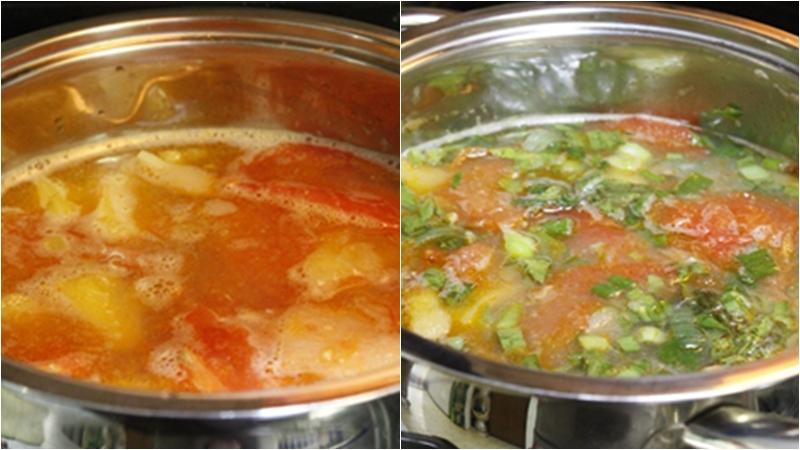 Nấu canh ghẹ măng chua