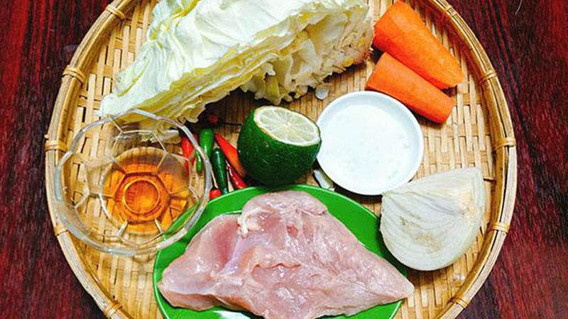 Nguyên liệu làm gỏi gà bắp cải