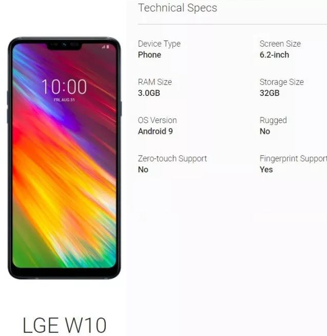 LG W10 lộ cấu hình trên cơ sở dữ liệu Android Enterprise
