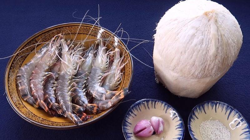 Nguyên liệu làm tôm luộc nước dừa