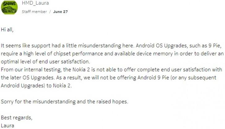 Quản trị viên cộng đồng Nokia xác nhận Nokia 2 không được cập nhật Android 9 Pie