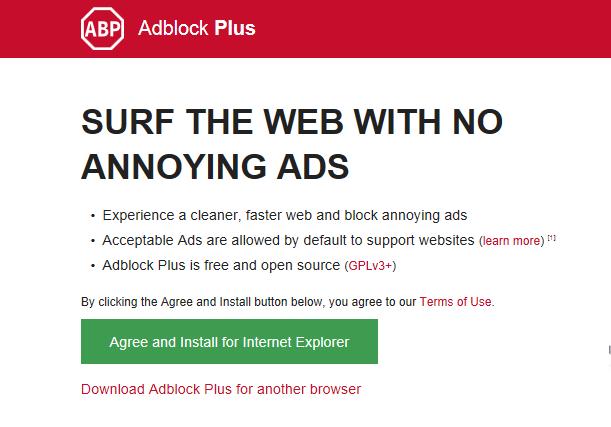 Chọn cài đặt trình chặn quảng cáo