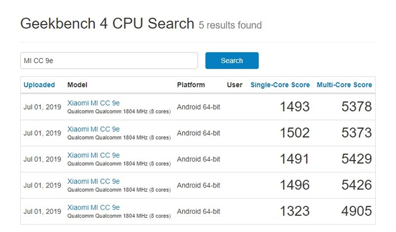 Các lần kiểm tra điểm chuẩn của Xiaomi Mi CC9e trên Geekbench