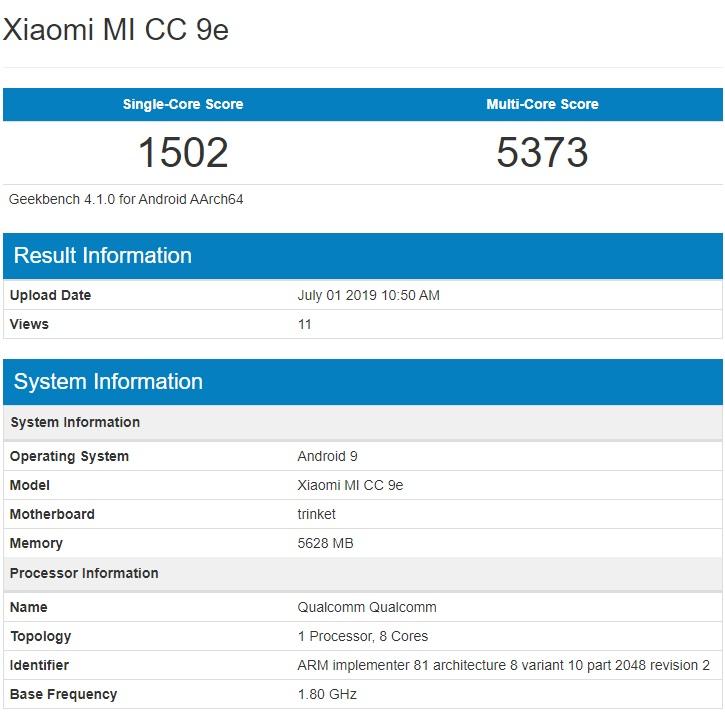 Xiaomi Mi CC9e xuất hiện trên Geekbench