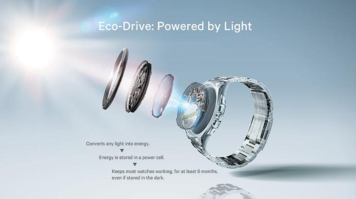 Công nghệ Eco-Drive với nguồn năng lượng là pin sạc bằng bất kỳ nguồn sáng nào