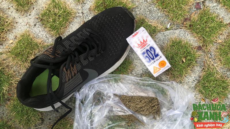 Dán giày bằng keo 502 với cát