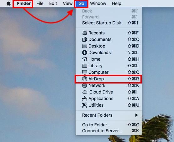 Mở AirDrop trên Finder