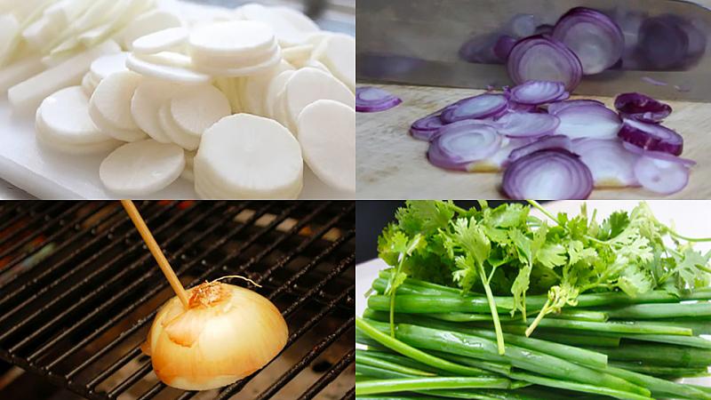 Sơ chế củ cải, hành tím, hành tây, ngò rí, hành lá nấu bánh canh giò heo