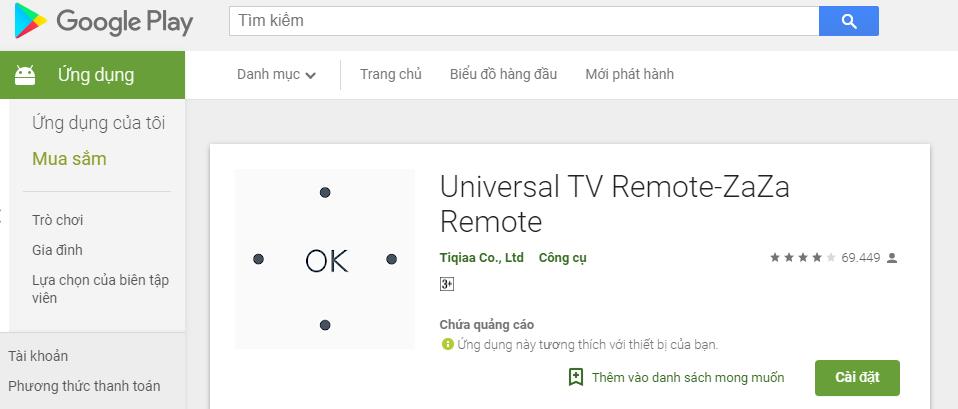 Ứng dụng Zaza Remote
