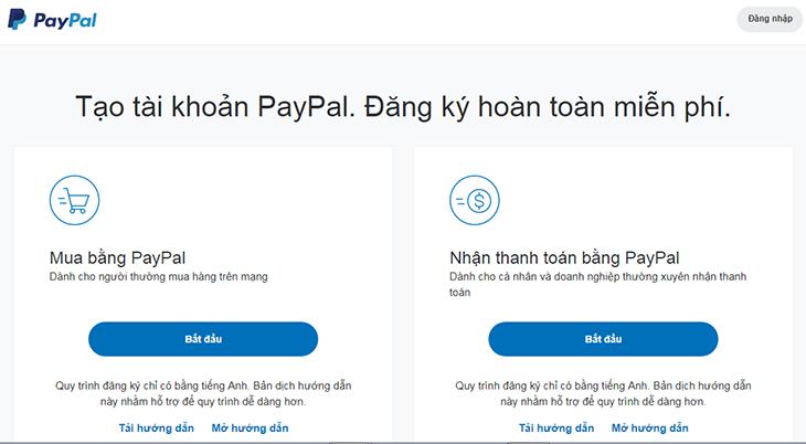 Hai hình thức mở tài khoản PayPal là cá nhân và doanh nghiệp.