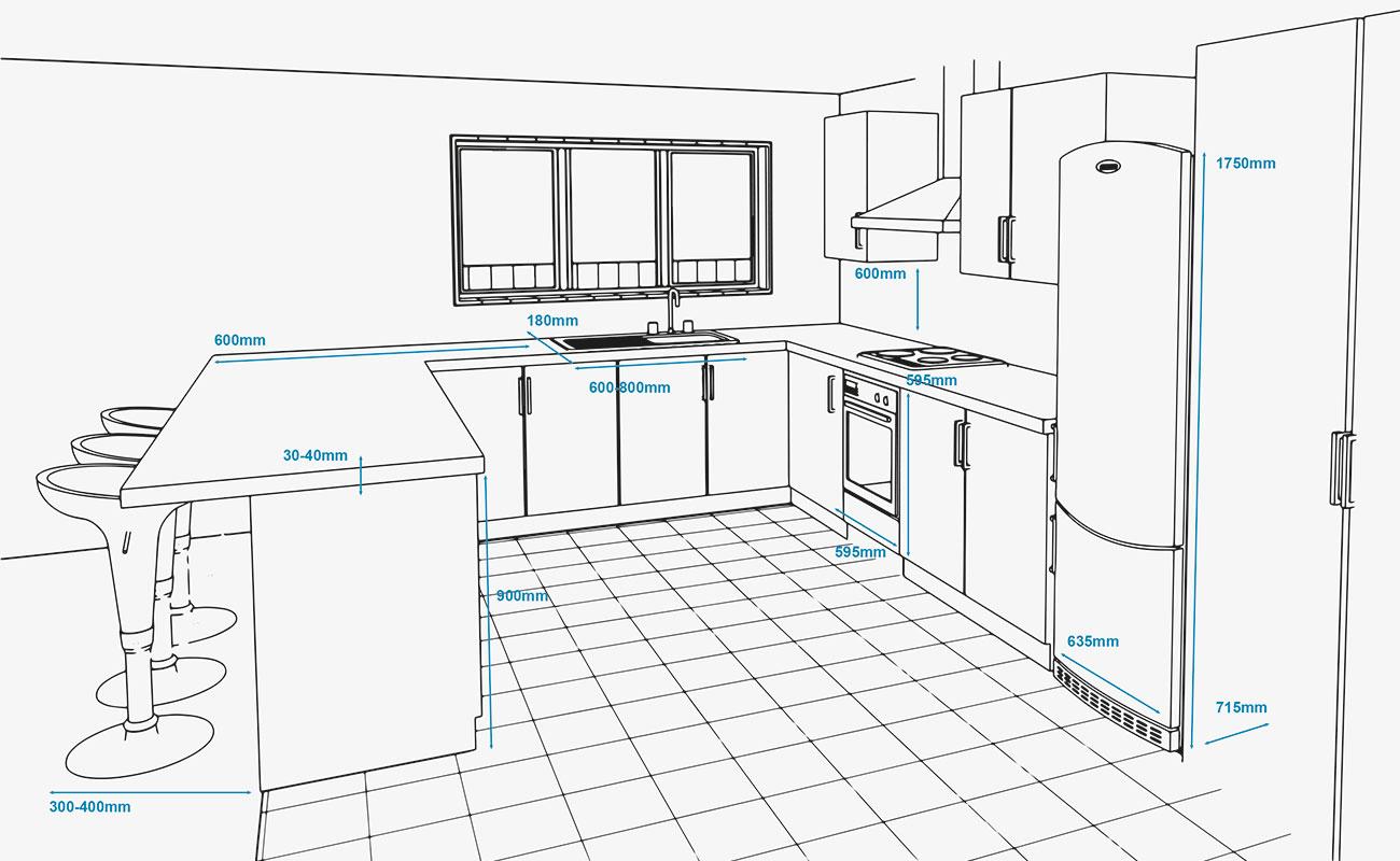 Đo kích thước tủ lạnh và các khoảng không gian trong căn bếp