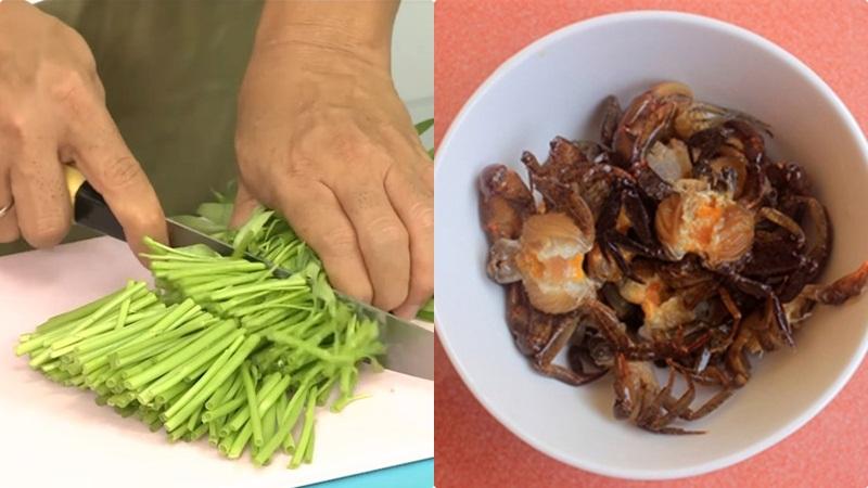 Sơ chế cua đồng và rau muống